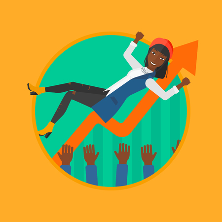 arms lifted up: An african woman get thrown into the air by coworkers on the background of growing chart. Happy business woman during celebration. Vector flat design illustration in the circle isolated on background.