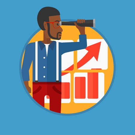 looking for job: An african-american young businessman looking through a spyglass at chart. Man searching the opportunities for business growth. Vector flat design illustration in the circle isolated on background. Illustration