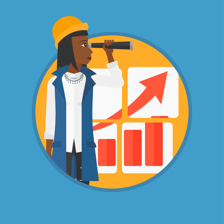looking for job: An african-american business woman looking through a spyglass at chart. Woman searching the opportunities for business growth. Vector flat design illustration in the circle isolated on background.