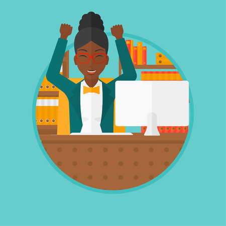 woman arms up: African-american young business woman celebrating with arms up while sitting at workplace in office. Successful business concept. Vector flat design illustration in the circle isolated on background. Illustration