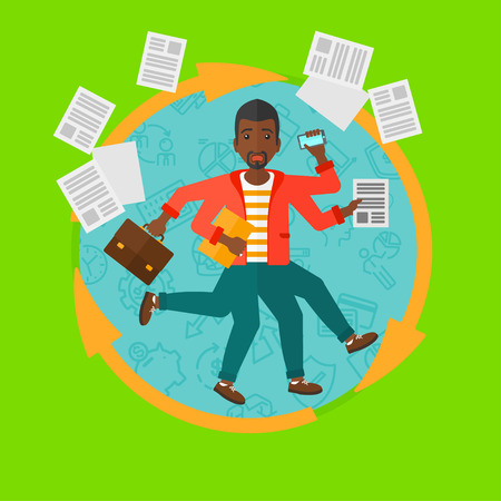 An african-american businessman with many legs and hands holding papers, briefcase, phone. Multitasking and productivity concept. Vector flat design illustration in the circle isolated on background. Vektoros illusztráció