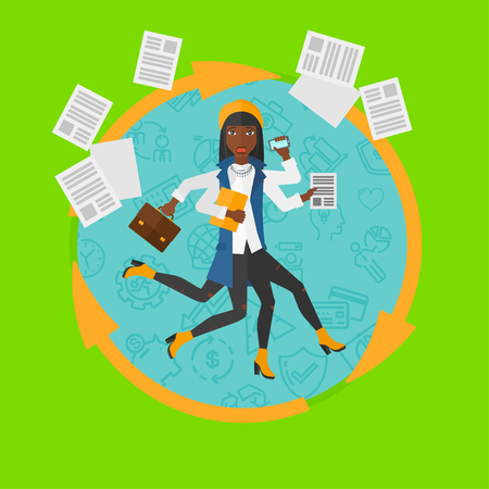 hands in: African-american business woman with many legs and hands holding papers, briefcase, phone. Multitasking and productivity concept. Vector flat design illustration in the circle isolated on background. Illustration