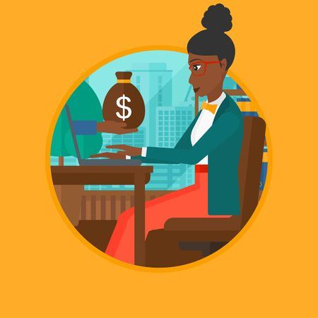 ebusiness: An african-american young business woman sitting in office and a bag of money coming out of her laptop. Online business concept. Vector flat design illustration in the circle isolated on background.