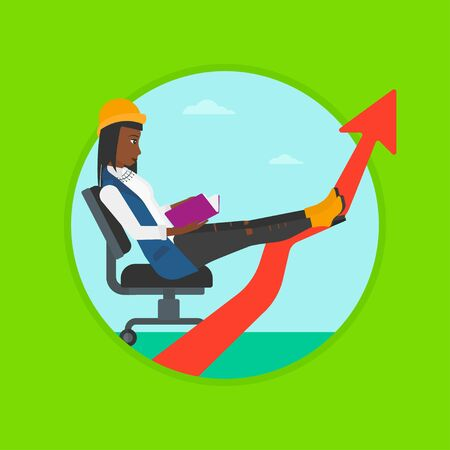 An african-american young business woman reading a book while his legs lay on an uprising arrow. Business study concept. Vector flat design illustration in the circle isolated on background. Illustration