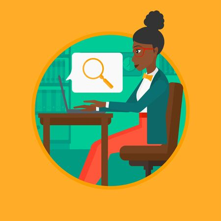 searching: An african-american business woman working on laptop in office and a magnifying glass coming out from screen. Concept of search. Vector flat design illustration in the circle isolated on background. Illustration