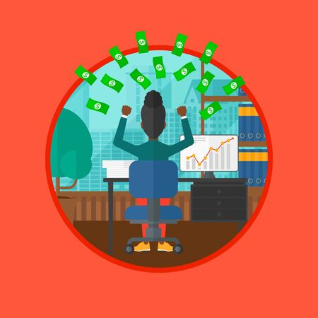 An african-american business woman with raised hands sitting in front of computer monitor with growing chart under money rain. Vector flat design illustration in the circle isolated on background.