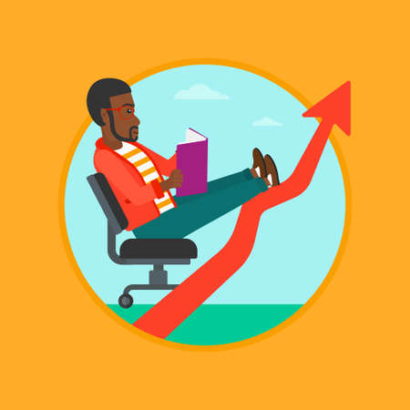 uprising: An african-american young businessman reading a book while his legs lay on an uprising arrow. Business study concept. Vector flat design illustration in the circle isolated on background.