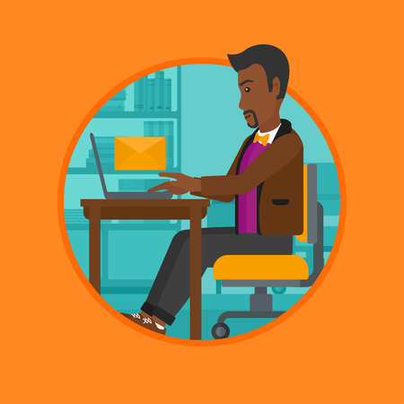 receiving: An african-american businessman working on laptop in office and receiving or sending email. Business technology, email concept. Vector flat design illustration in the circle isolated on background.