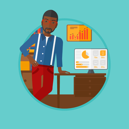 An african-american young businessman standing in office during business presentation. Businessman giving a business presentation. Vector flat design illustration in the circle isolated on background.