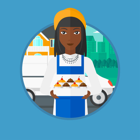 cupcakes isolated: An african-american female baker holding a box of cupcakes on the background of delivery truck. Young baker delivering cakes. Vector flat design illustration in the circle isolated on background.