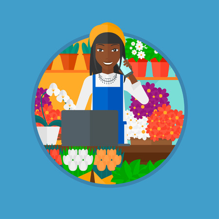 small business woman: An african-american female florist using telephone and laptop to take orders. A florist standing behind the counter at flower shop. Vector flat design illustration in the circle isolated on background