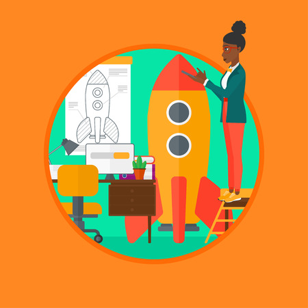engeneering: An african-american young woman engeneering a rocket. Woman working on the startup of a new business. Business start up concept. Vector flat design illustration in the circle isolated on background.