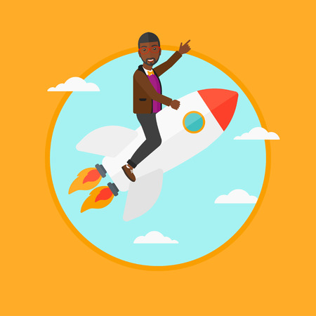 forefinger: An african-american businessman flying on the business start up rocket and pointing his forefinger up. Business start up concept. Vector flat design illustration in the circle isolated on background.