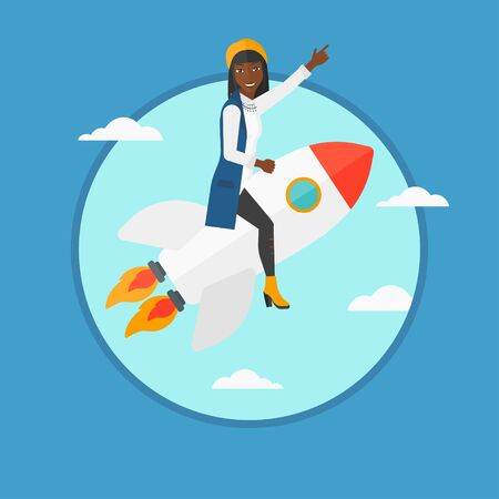forefinger: An african-american business woman flying on business start up rocket and pointing forefinger up. Business start up concept. Vector flat design illustration in the circle isolated on background. Illustration
