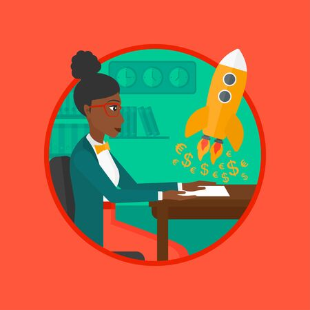 An african business woman sitting at the table and looking at a business start up rocket taking off. Business start up concept. Vector flat design illustration in the circle isolated on background. Illustration