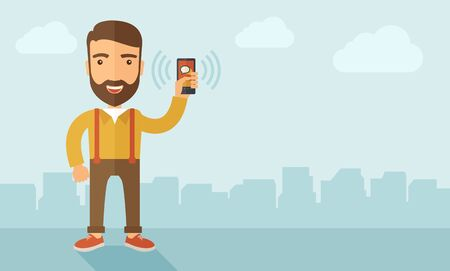 A man standing while holding smartphone with bubble, call and sends message via sms chat with internet wifi. Communication concept. A contemporary style with pastel palette, soft blue tinted background with desaturated clouds. flat design illustration. Ho Stock Photo