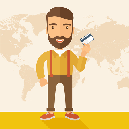 tinted: A happy hipster Caucasian businessman thankfully standing holding his credit card. Fulfillment concept. A contemporary style with pastel palette, beige tinted background. flat design illustration. Square layout.