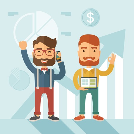 happy employees: Two hipster Caucasian employees with beard standing happy for the certicate award they received for being a top on sales. Winner, happy concept. A contemporary style with pastel palette soft blue tinted background. flat design illustration. Square layout.