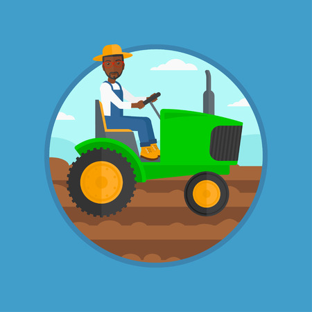 An african-american man using a tractor to plow a field. Young farmer in summer hat driving tractor. Tractor preparing land. Vector flat design illustration in the circle isolated on background.