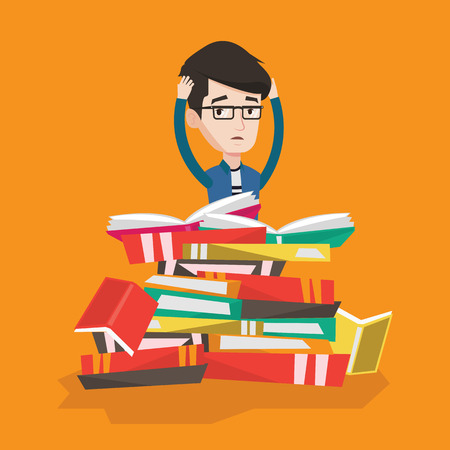 student reading: Young caucasian male student sitting in huge pile of books. Exhausted student clutching his head. Stressed student reading books. Concept of education. Vector flat design illustration. Square layout.