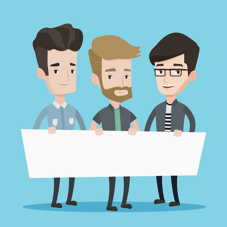 Three men holding white blank board. Group of young students holding an empty board. Vector flat design illustration. Square layout.