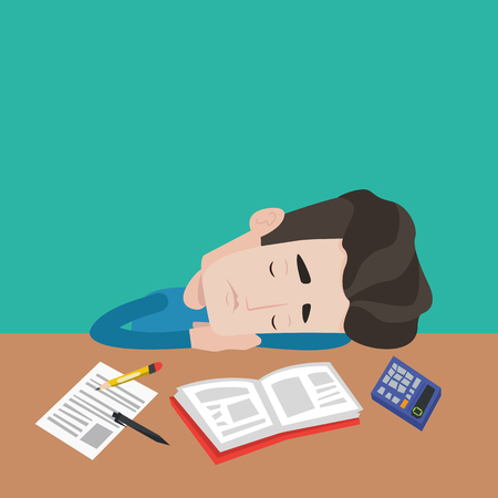 tiredness: Young male student sleeping at the desk with book, exercise book, calculator. Tired caucasian student sleeping after learning. Concept of education. Vector flat design illustration. Square layout.