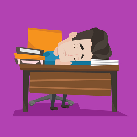 tiredness: Fatigued student sleeping at the desk with books. Tired student sleeping after learning. Man sleeping among the books at the table. Concept of education. Vector flat design illustration. Square layout