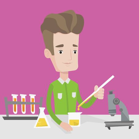 experimenting: Student carrying out experiment. Student working with microscope, test tubes and flask at laboratory class. Student experimenting in chemistry class. Vector flat design illustration. Square layout.
