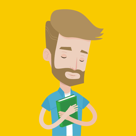 likes: Young smiling student hugging his book. Happy joyful student likes read books. Peaceful student with eyes closed holding a book. Concept of education. Vector flat design illustration. Square layout.