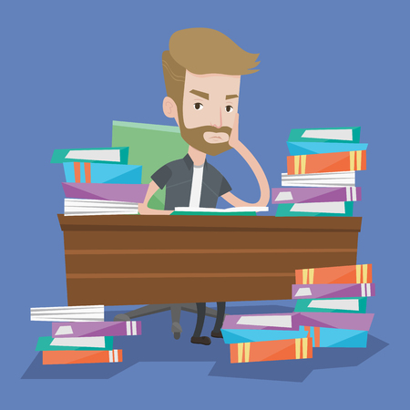 stress test: Student sitting at the table with piles of books. Young overworked man studying. Sad student having too much to read. Tired student having a lot to do. Vector flat design illustration. Square layout