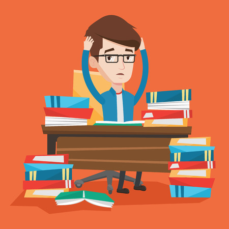 Student sitting at the table with huge piles of books and clutching his head. Stressed student reading books. Depressed student having a lot to do. Vector flat design illustration. Square layout. Illustration