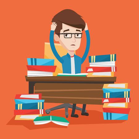 Estudiante que se sienta a la mesa con enormes pilas de libros y agarrándose la cabeza. Hizo hincapié en los libros de lectura de los estudiantes. estudiante deprimido que tiene mucho que ver. Vector de diseño plano ilustración. de planta cuadrada.