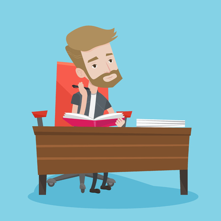 thinking student: Young student sitting at the table and thinking. Pensive student writing in a notebook. A hipster man with the beard studying. Concept of education. Vector flat design illustration. Square layout.