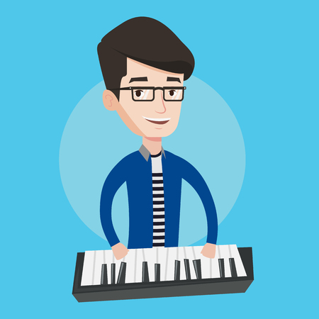 upright piano: Young musician playing piano. Pianist playing upright piano. Male artist playing on synthesizer. Vector flat design illustration. Square layout.