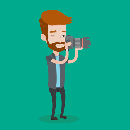 A hipster man with the beard taking a photo. Young photographer taking a picture. Caucasian photographer with digital camera. Vector flat design illustration. Square layout.