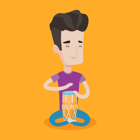 Young man with eyes closed playing ethnic drum. Caucasian mucisian playing ethnic drum. Man playing ethnic music on tom-tom. Vector flat design illustration. Square layout. Ilustrace