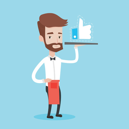 like button: A hipster waiter with the beard carrying tray with like button. Waiter holding restaurant tray with like button. Waiter with social network button. Vector flat design illustration. Square layout.