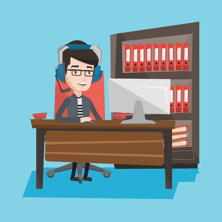 users video: Young caucasian man using computer for playing games. Gamer in headphones playing online games. Businessman working on a computer in the office. Vector flat design illustration. Square layout.