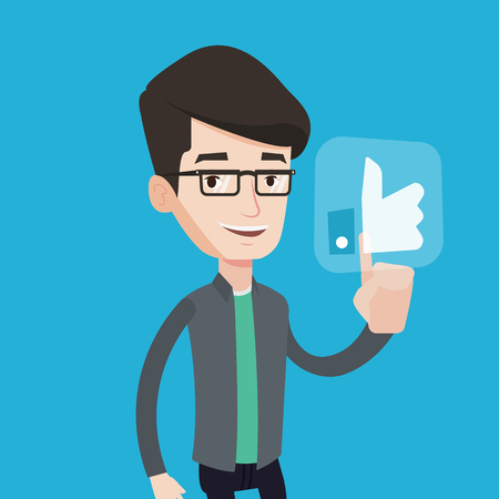 like button: Young happy man pressing like button. Man pressing modern social button with thumb up. Caucasian smiling man pressing social network button. Vector flat design illustration. Square layout. Illustration