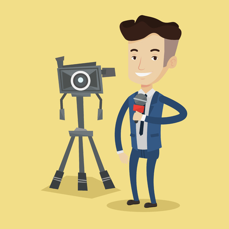 multimedia background: Reporter with microphone standing on a background with camera. Young smiling TV reporter in suit presenting the news. TV transmission with a reporter. Vector flat design illustration. Square layout.