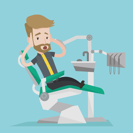 afraid man: Frightened hipster patient with the beard at dentist office. Scared young man in dental clinic. Man visiting dentist. Afraid man sitting in dental chair. Vector flat design illustration. Square layout