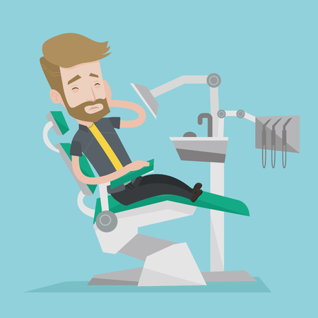 tooth pain: Young male patient sitting at the chair at the dental office. Sad man suffering from tooth pain. A hipster man with the beard having a toothache. Vector flat design illustration. Square layout. Illustration