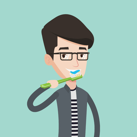 cleaning teeth: Young caucasian man brushing his teeth. Smiling man cleaning teeth. Man with toothbrush in hand. Vector flat design illustration. Square layout.