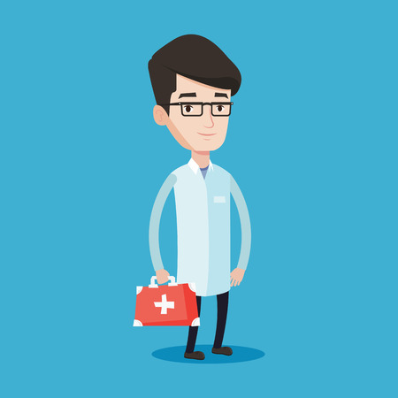 first aid box: Young male doctor in medical gown holding first aid box. Friendly doctor in uniform standing with first aid kit. Vector flat design illustration isolated on blue background. Square layout.