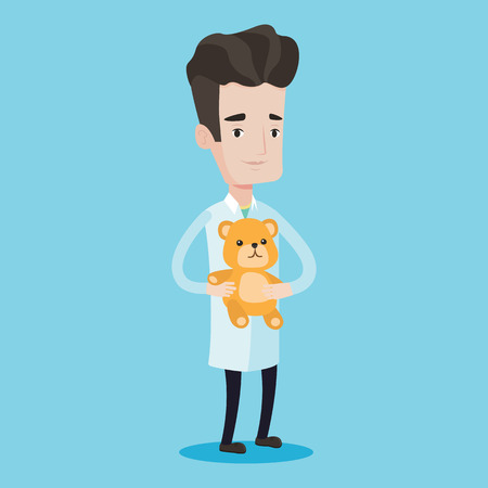 pediatrician: Young male pediatrician doctor holding a teddy bear. Professional pediatrician doctor standing with a teddy bear. Vector flat design illustration isolated on blue background. Square layout. Illustration