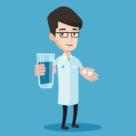 Giovane farmacista amichevole tenendo in mano un bicchiere d'acqua e pillole. Sorridente farmacista in abito medico dare farmaci. Il concetto di assistenza sanitaria. Vector design piatto illustrazione. pianta quadrata.