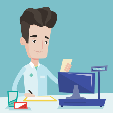 druggist: Pharmacist writing on clipboard and holding prescription. Pharmacist in medical gown standing at pharmacy counter. Pharmacist reading prescription. Vector flat design illustration. Square layout.
