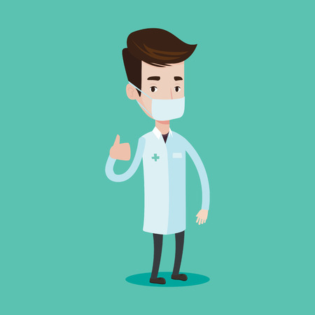 protective gown: Young caucasian doctor in mask giving thumbs up. Doctor in medical gown showing thumbs up gesture. Vector flat design illustration isolated on blue background. Square layout. Illustration