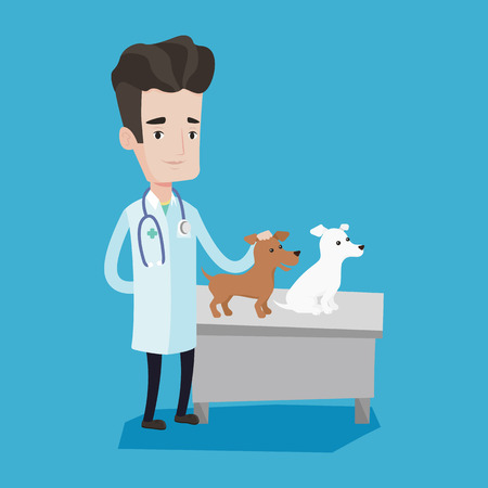 stetoscope: Young caucasian veterinarian with stetoscope examining dogs in hospital. Male veterinarian with dogs at vet clinic. Concept of medicine and pet care. Vector flat design illustration. Square layout.