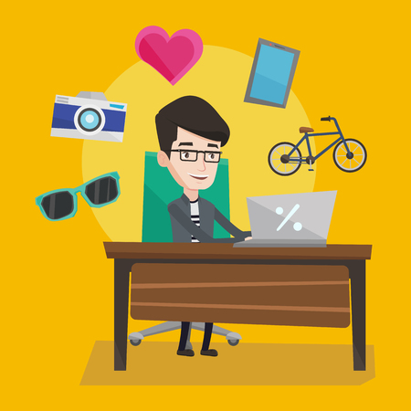 consumer goods: Young caucasian man sitting in front of laptop and some images of goods flying around him. Happy man doing online shopping. Man buying on internet. Vector flat design illustration. Square layout.